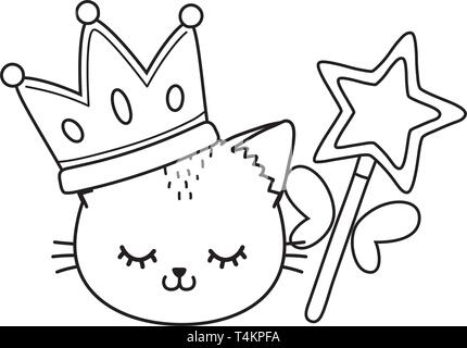 cat with crown and wand icon cartoon black and white vector illustration graphic design - Stock Image