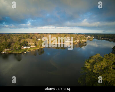 Early morning aerial of Crystal Lake, Virginia Beach, Virginia - Stock Image