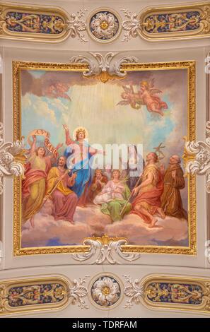 MENAGGIO, ITALY - MAY 8, 2015: The neobaroque ceiling fresco of Glorification of Virgin Mary  in church chiesa di Santo Stefano by Luigi Tagliaferri. - Stock Image