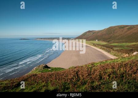 Rhossili Bay Gower  Swansea Wales - Stock Image
