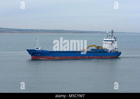 The Faroese general Cargo Vessel on its approach in to Aberdeen from the North Sea - Stock Image