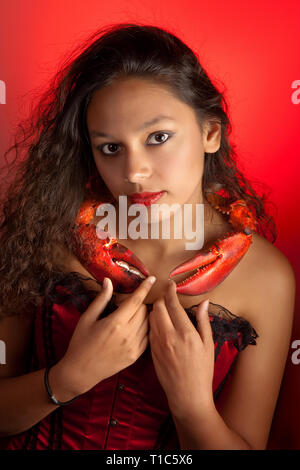 Cancer or Crab woman, this photo is part of a series of twelve Zodiac signs of astrology - Stock Image