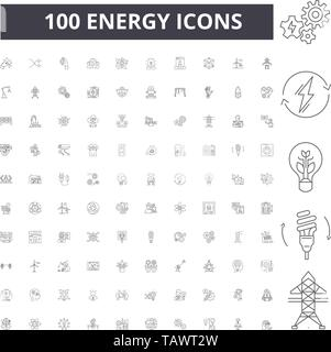 Energy line icons, signs, vector set, outline illustration concept  - Stock Image