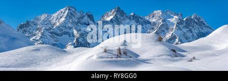 Col du Lautaret in winter, Hautes-Alpes, Ecrins National Park, European Alps, France - Stock Image