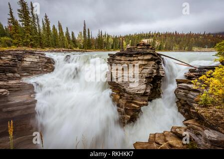 Waterfall, Athabasca Falls, Athabasca River, Icefields Parkway, Banff National Park, Alberta, Canada - Stock Image