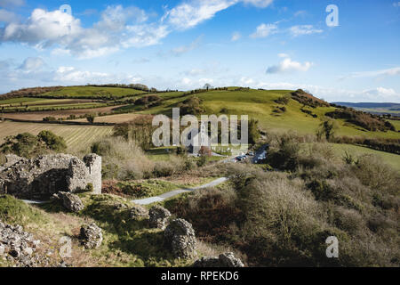 View from The Rock of Dunamase popular historic attraction found overlooking the valley of the O'Moores, outside Portlaoise, County Laois, Ireland - Stock Image