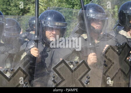 Turkish soldiers from Multi-National Battle Group - East conduct crowd-and-riot-control training Aug. 24 outside the town of Miresh, Kosovo. - Stock Image