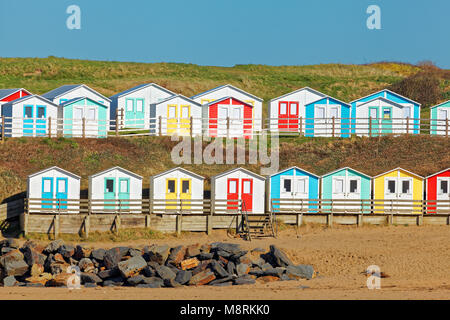 Beach Huts, Summerleaze Beach, Bude, Cornwall, UK - Stock Image