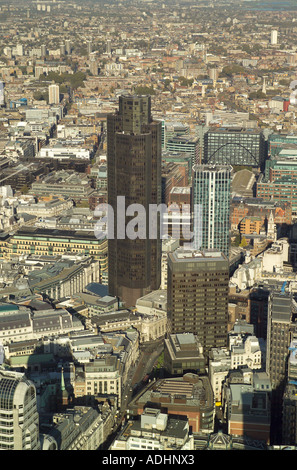 Aerial view of Tower 42 on Old Broad Street in the City of London. It was formerly called the Nat West Tower - Stock Image