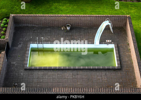 Swimming pool in a garden with green water and a slide surrounded by a brick wall - Stock Image