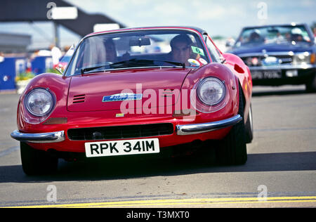 Ferrari Dino red 1973. RAC classic car rally, Silverstone, c.1990 - Stock Image