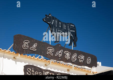 El Rancho Restaurant Cow Sign Showing The Cuts Of Beef Albufeira Old Town Portugal - Stock Image