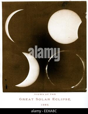 Four Views of the Solar Eclipse, August, 1869, by Henry Morton - Stock Image