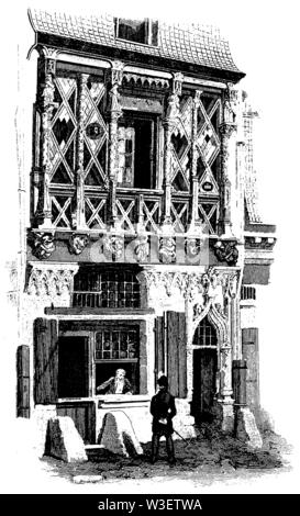 House in Le Mans (15th century), ,  (cultural history book, 1875) - Stock Image