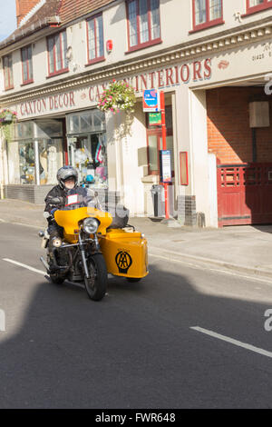 AA (Automobile Association) cycle and sidecar combination at Fordingbridge in August 2015, attending the motorbike - Stock Image