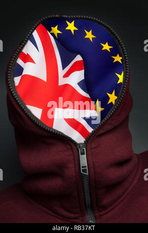 BREXIT - Britain's exit from the European Union. The average man in the street is confused about Brexit. A head full of BREXIT. - Stock Image