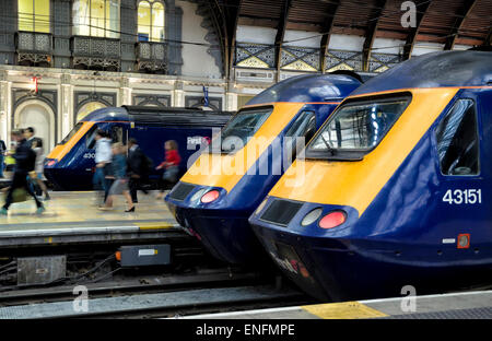 British high speed trains lined up at Paddington Station, London, UK. HST High speed rail transport - Stock Image