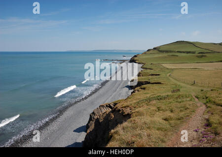Cornborough Cliffs from Abbotsham Cliffs on the South West Coast Path near Westward Ho! - Stock Image