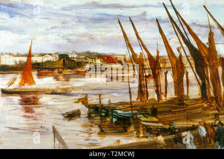 James McNeill Whistler, Battersea Reach, painting, c. 1863 - Stock Image