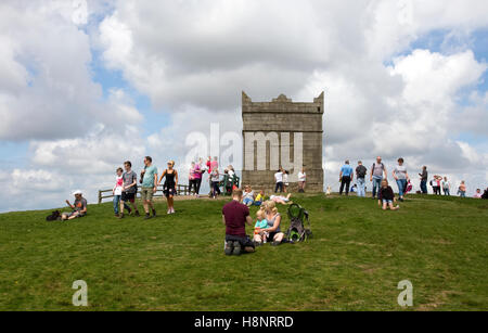 Summit of Rivington Pike and Tower, Winter Hill, West Pennine Moors, Lancashire, England, UK - Stock Image