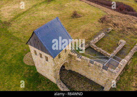 Schladen, Germany, December 11., 2018: View of the west tower of the imperial palace Werla, a fortification of the early Middle Ages in Lower Saxony a - Stock Image