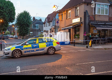 London, United Kingdom. 19 July 2018. Police were called by the London Ambulance Service at 12:11BST on Thursday, 19 July to reports of a seriously injured woman in Uxbridge Road, W7. Despite the best efforts of the emergency services, the woman, believed to be aged in her twenties, was pronounced dead at the scene at 12:50BST. A 28-year-old man was arrested at the scene on suspicion of murder. Credit: Peter Manning/Alamy Live News - Stock Image