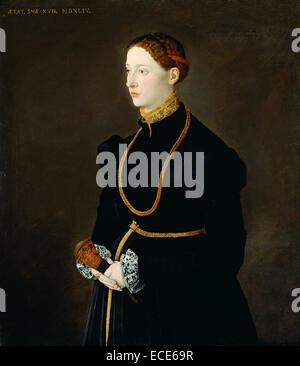 Portrait of Barbara Kressin; Unknown maker, Netherlandish Master, active Germany; Germany, Europe; 1544; Oil on - Stock Image