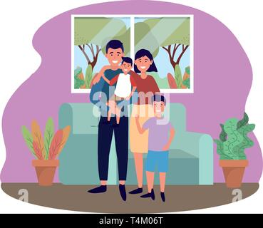 couple with children avatar cartoon character in the living room vector illustration graphic design - Stock Image