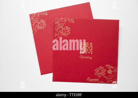 red envelope used in chinese weddings for cash gifts - Stock Image