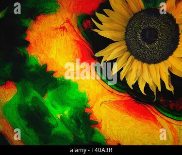 DIGITAL ART: Floral Dance 005 - Stock Image