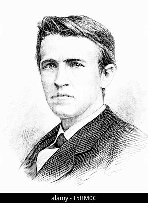 Thomas Alva Edison (1847-1931), portrait illustration, 1878 from Popular Science Monthly magazine - Stock Image