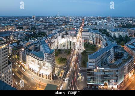 Panoramic View from Kollhoff Tower,  Leibziger Platz,   Tower, Berlin, Germany, - Stock Image