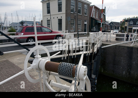 Lock doors and winch for the lock of Stavoren, Fryslan, The Netherlands - Stock Image
