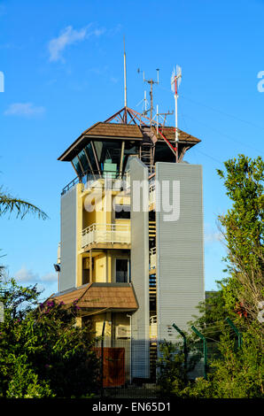 Interesting architecture of a small airport control tower. - Stock Image