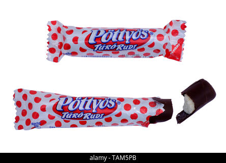 popular hungarian chocolate coated curd snack turo rudi cut out on a white background - Stock Image