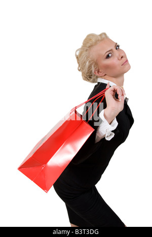 young lady with carry bag on isolated background - Stock Image