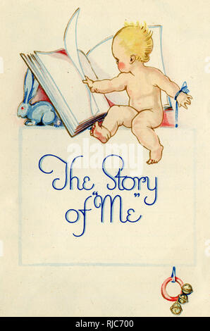 Title page design, The Story of Me -- a baby book in which details can be recorded of the baby's date of birth, weight, first birthday, etc. Showing a baby turning the pages of a large book. - Stock Image