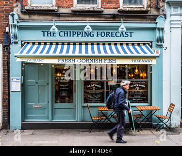 The Chipping Forecast Upmarket Fish and Chip Shop in Soho London - the Chipping Forecast restaurant Greek Street Soho London - Stock Image