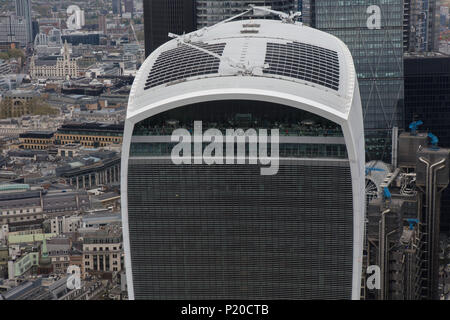 An aerial view of 20 Fenchurch St, better known as the Walkie Talkie building, City of London - Stock Image
