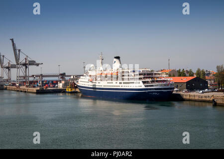 Portugal, Leixoes Harbour, MV Marco Polo, moored at North Terminal - Stock Image
