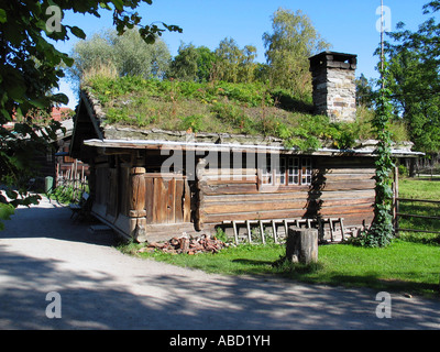 Old house like it was once in Norway, Norwegian folk museum, Oslo, Norway - Stock Image
