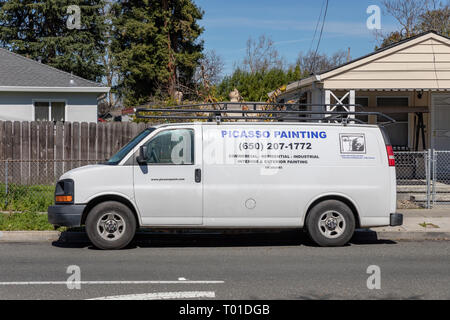 'Picasso Painting – Commercial, Residential, Industrial, Interior & Exterior Painting', text on van; California, USA - Stock Image
