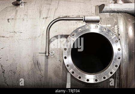 Industrial Steel Tank Pressure Vessel With Open Hole - Stock Image