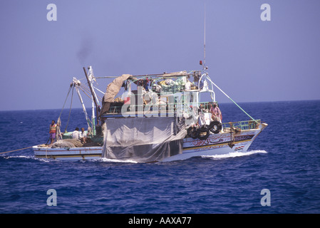 Egyptian fishing boat in the Red Sea - Stock Image