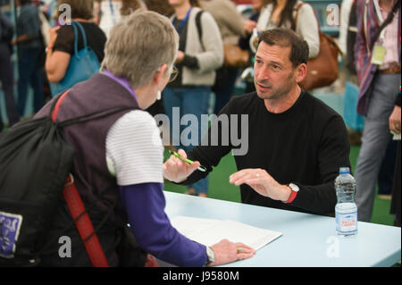 Alexander Todorov Professor of Psychology at Princeton University book signing in the bookshop at Hay Festival 2017 - Stock Image