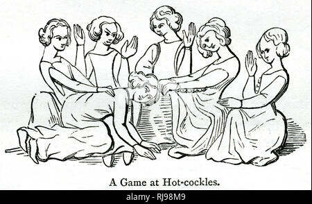 A popular family game at Christmas, person blindfolded, knelt down with their head in someone's lap, while guessing who was hitting them from behind! This was an early form of Blind Man's Buff. - Stock Image