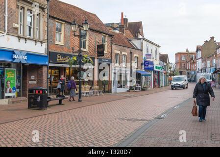 Early morning shoppers in High Street, Chesham, Bucks, England, UK, - Stock Image