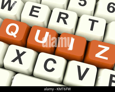Quiz Keys Showing Test Or Questions And Answers - Stock Image