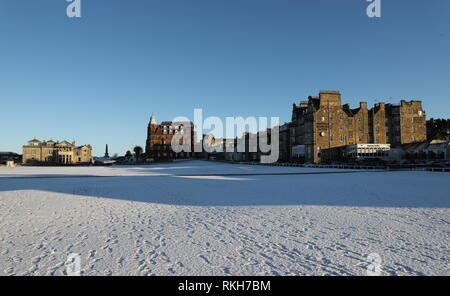 Royal and Ancient Clubhouse, Hamilton Grand and Rusacks Hotel with snow St Andrews Fife Scotland   February 2019 - Stock Image