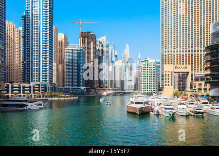 DUBAI, UAE - FEBRUARY 25, 2019: Dubai Marina is an artificial canal city and a district in Dubai in UAE - Stock Image